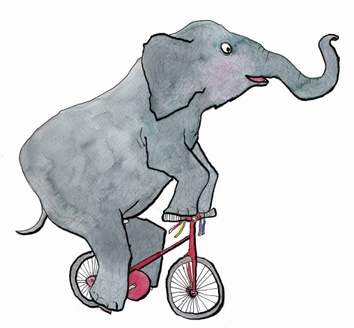 Like an elephant riding a bicycle...